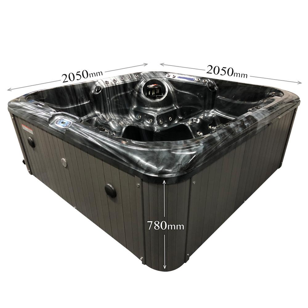 Black Stream - 5 person Hot Tub Dimensions Graphic