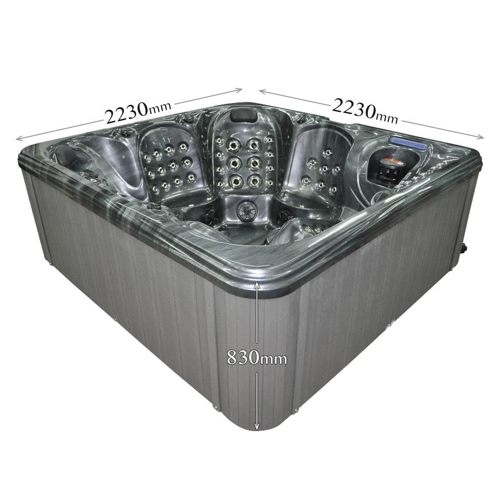 Jewel Stream Black - 6 person hot tub dimensions graphic