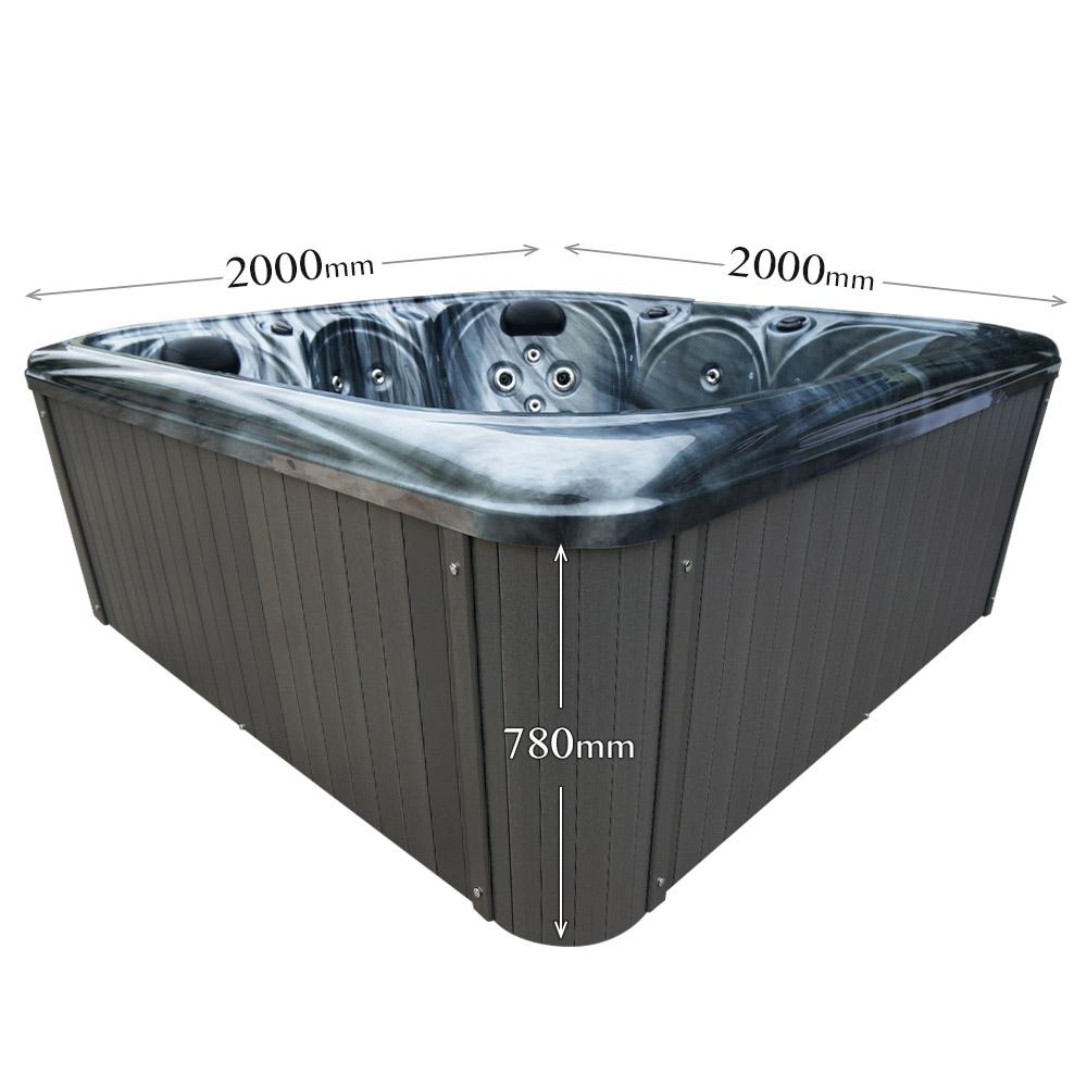 Long Stream - 6 Person Hot Tub Dimension graphic
