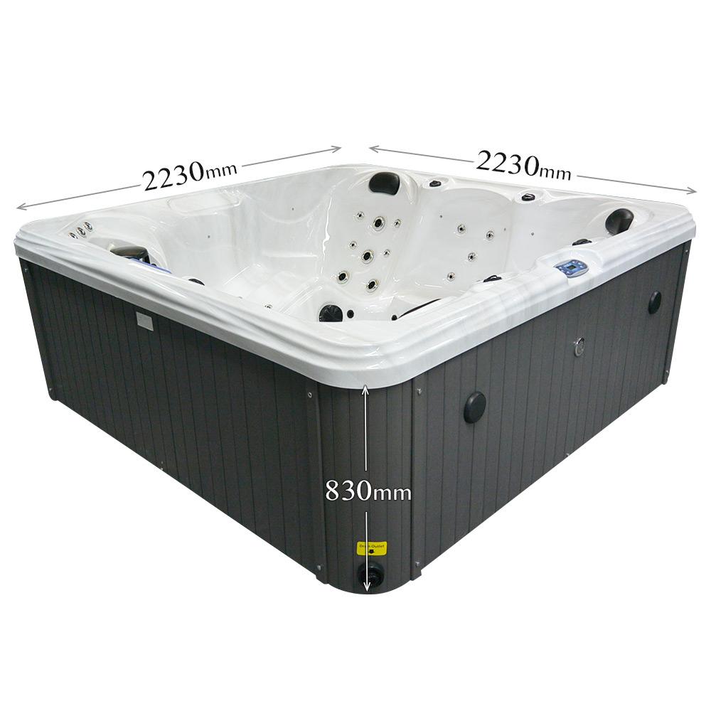 Night Stream - 5 Person Hot Tub Dimensions graphic