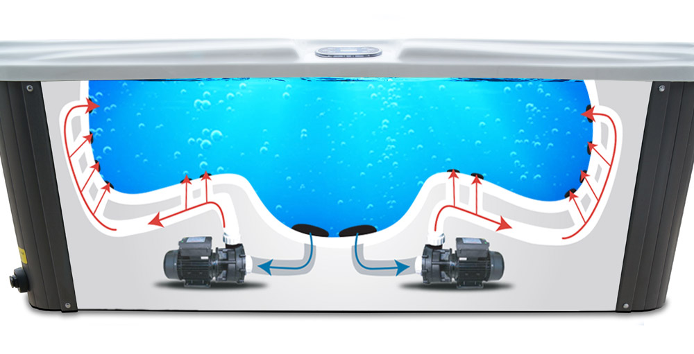 Silver Stream 6 Person Hot Tub - Powerful Pumps Water Flow