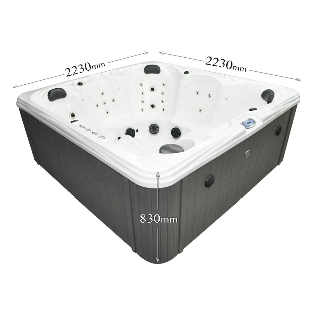 Silver Stream - 6 Person Hot Tub Dimensions graphic